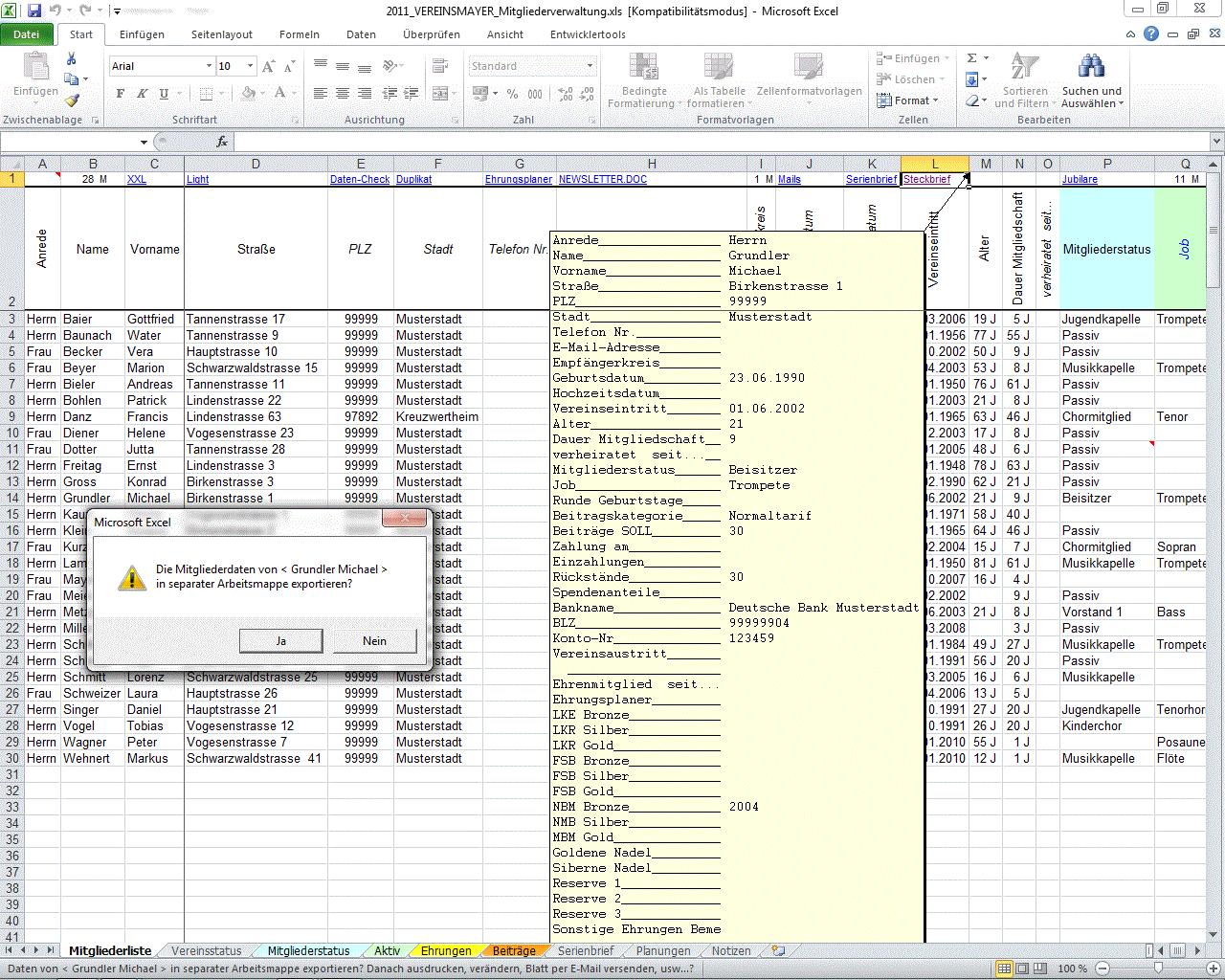 VEREINSMAYER - meine persönliche Vereinsverwaltung unter Excel